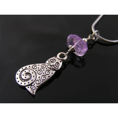Necklace with Cat Pendant and Amethyst Nugget