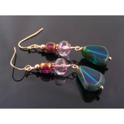 Rose Gold Earrings with Pink and Teal Czech Glass Beads