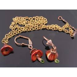 Peridot and Copper Czech Flower Earrings and Necklace