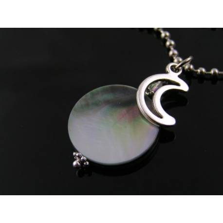 Full Moon Necklace, Mother of Pearl Moon Pendant Necklace