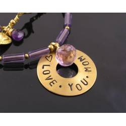 Love you Mom - Necklace with Amethyst, Purple Necklace,
