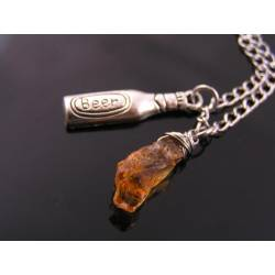 Beer Bottle Charm and Citrine Nugget Necklace