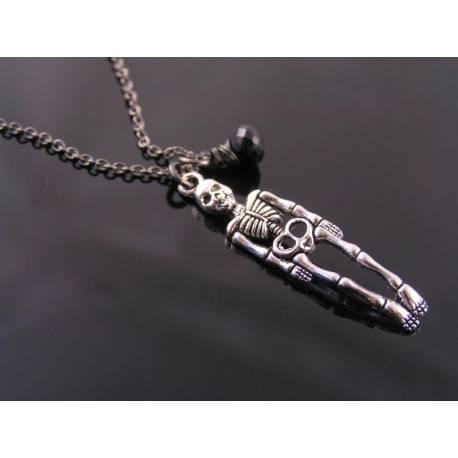 Gothic Skeleton Necklace, Black Spinel