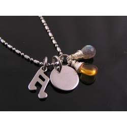 Initial Necklace with Citrine and Labradorite, Musical Charm