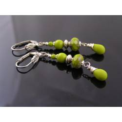 Bright Green and Silver Earrings
