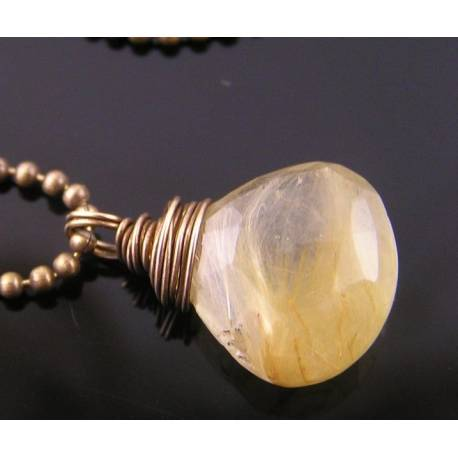 Golden Rutilated Quartz Drop on Oxidized Solid Brass Ball Chain