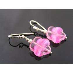 Pink Flower Earrings, Czech Glass