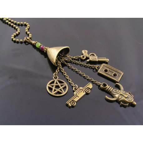 Supernatural Charm Necklace, Dean Winchester Amulet Necklace, Supernatural Jewelry with Dean's and Sam's Birthstones