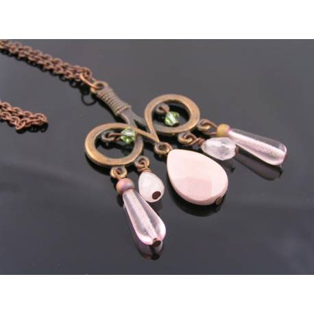 Copper Necklace with Pink Gemstone Pendant, Mookaite, Rose Quartz and Czech Glass