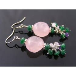 Rose Quartz, Green Aventurine and Amethyst Earrings