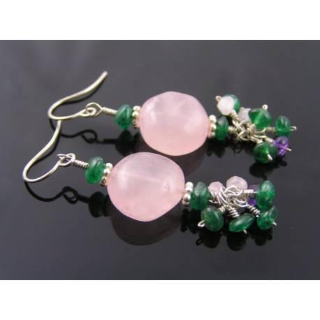 Rose Quartz, Green Aventurine and Amethyst Earrings