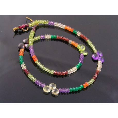 Colourful Faceted Gemstone Necklace, 14K gold filled