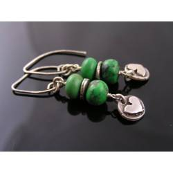 Natural Green Turquoise and Sterling Silver Earrings