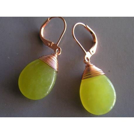 Olive Green Jade Drop Earrings, Copper