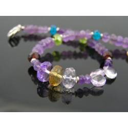 Amethyst, Citrine Peridot and Garnet - Gemstone Bracelet in Sterling Silver