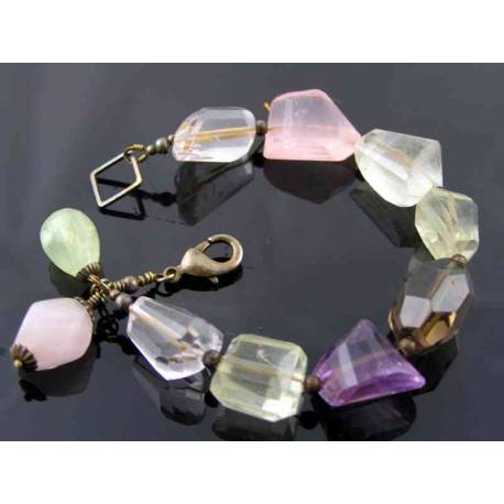 Large Faceted Gemstone Nugget Bracelet, Amethyst, Rose Quartz, Lemon Quartz, Prehnite