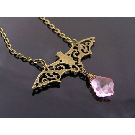 Filigree Bat Necklace with Faceted Pink Drop
