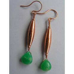 Chrysoprase Copper Earrings