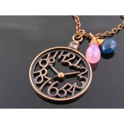 Pink Chalcedony and Apatite Clock Necklace