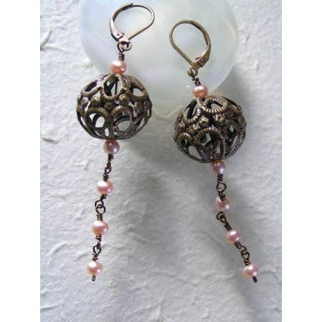 Filigree Ball Earrings with Pink Freshwater Pearls