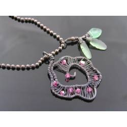 Wire Wrapped Pink Crystal Rose Necklace