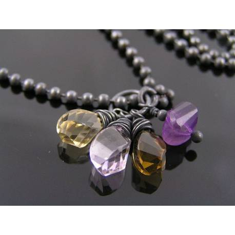 Gemstone Charm Necklace with Champagne Citrine, Amethyst, Beer Quartz