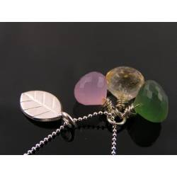 Leaf Necklace with Russian Serpentine, Pink Chalcedony and Citrine