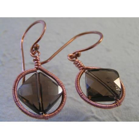 Framed Smokey Quartz Earrings