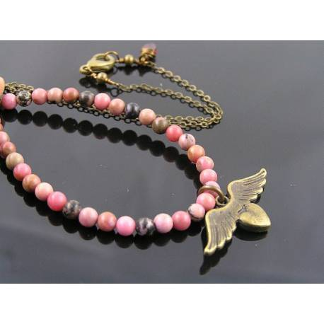 Natural Pink Rhodonite and Angel Wing Charm Necklace