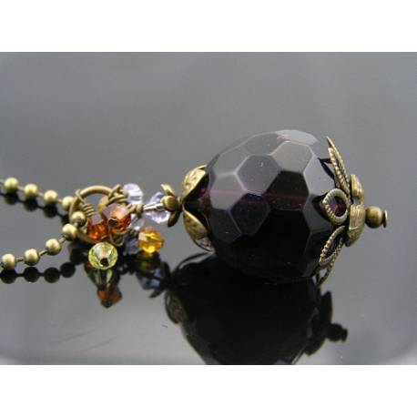Large Purple Drop with Crystals Necklace