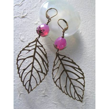 Rose Opal Filigree Leaf Brass Earrings
