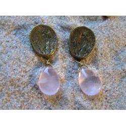 Rose Quartz Earrings, Ear Studs