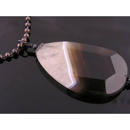 Huge Natural Black and White Faceted Agate Necklace