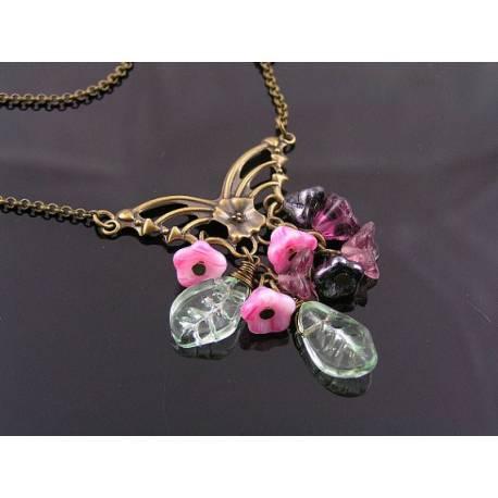 Butterfly Flower Necklace, Czech Beads