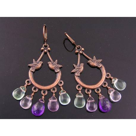 Fluorite and Amethyst Romantic Dove Chandelier Earrings