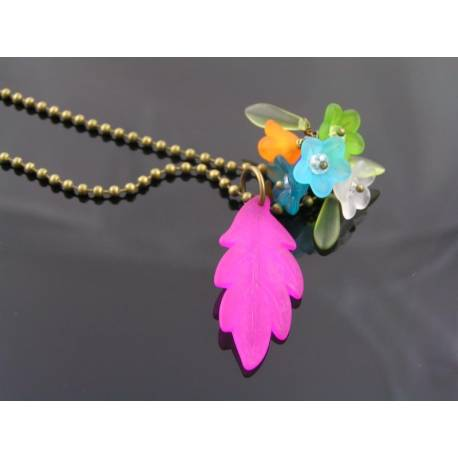 Luscious Lucite Flowers and Pink Leaf on Oxidized Ball Chain