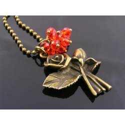 Red Roses Necklace, Glowing Red Czech Crystal Pendant