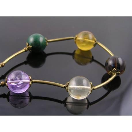 Round Gemstone Bead Necklace