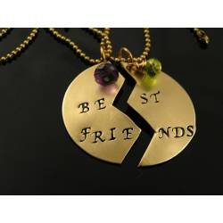 Best Friends Handstamped Necklaces with Birthstones