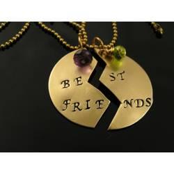 Best Friends Handstamped Necklaces with Birthstones