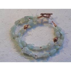 Aquamarine Nugget Bracelet, 2 Strand
