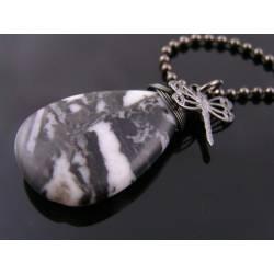Zebra Jasper and Dragonfly Charm Necklace