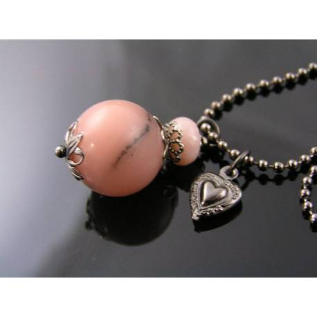 Heart Necklace With Pink Magnesite and Opal