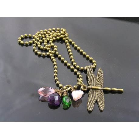 Dragonfly Charm Necklace, Amethyst, Crystal and Czech Flower Beads