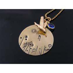 Handstamped Meadow Pendant Necklace with Bird and Blue Crystal