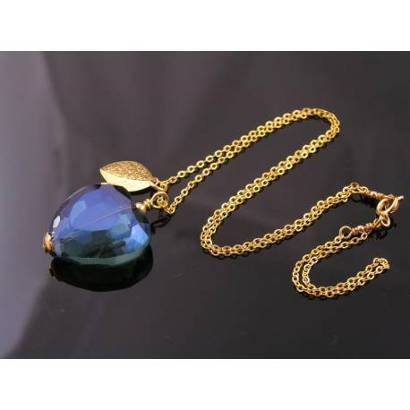 Heart Necklace, Large Blue Crystal and Gold Leaf Necklace