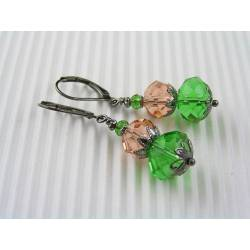 Sparkling Emerald Green and Peach Crystal Earrings