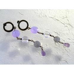 Colour Change Lavender Quartz, Labradorite and Amethyst Earrings