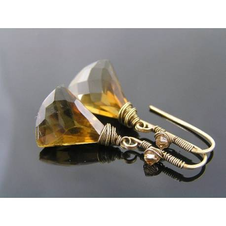 Fan Shaped Beer Quartz Drop Earrings,