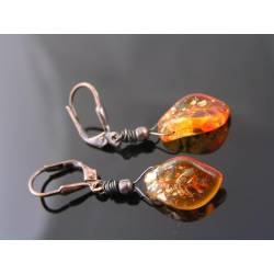 Bright Orange/Red Czech Leaf Earrings